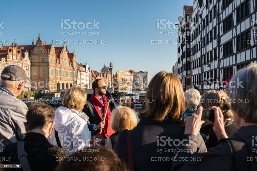 Tourists on tour of Gdansk Poland stock photo