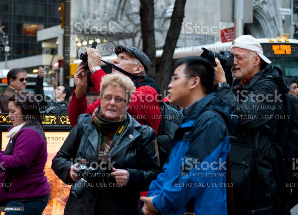 Tourists Photographing Christmas Tree Rockefeller Center royalty-free stock photo