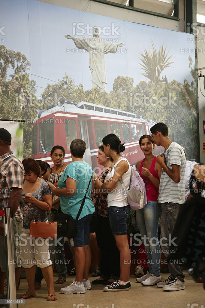 Tourists queuing to visit the Corcovado in Rio royalty-free stock photo