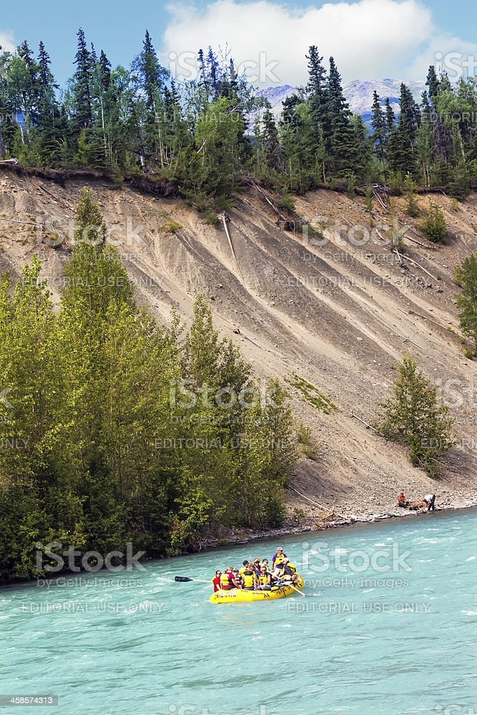 Tourists rafting in Alaska on the Kenai River royalty-free stock photo