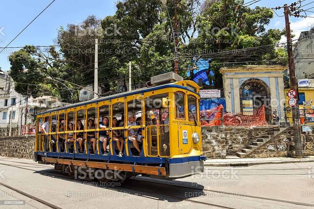Tourists Ride Santa Teresa Tram stock photo