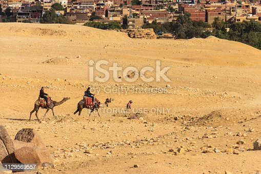 883177796 istock photo Tourists riding camels on Giza plateau against cityscape of Cairo 1129569557
