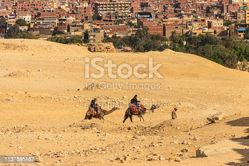 883177796 istock photo Tourists riding camels on Giza plateau against cityscape of Cairo 1137885157