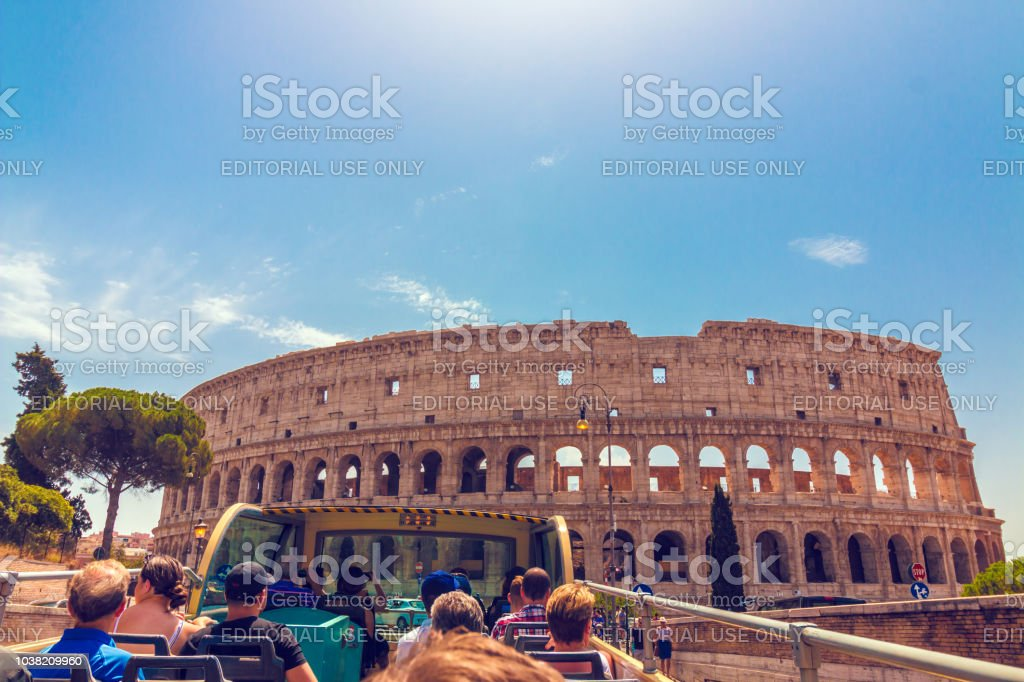 Tourists riding in bus in Rome stock photo