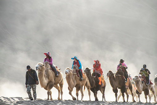 Dunhuang,China-October 13, 2015: Tourists riding the camels in the desert park, Gansu province