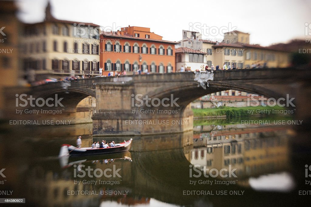 Tourists' rowing boat in Florence, Italy stock photo