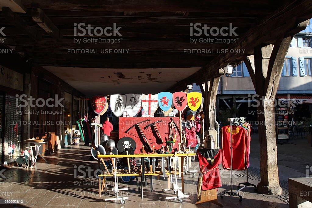 Tourists shop in Mirepoix stock photo