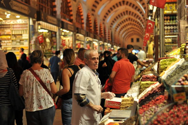 Tourists shopping at spice bazaar in istanbul stock photo
