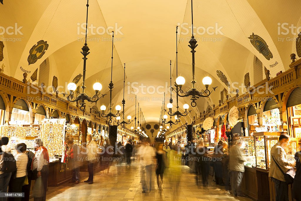 Tourists Shopping in Cloth Hall (Sukiennice), Cracow, Poland royalty-free stock photo