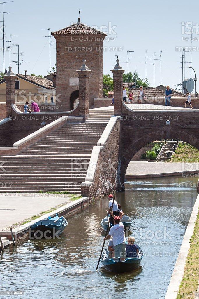 Tourists sightseeing a gondola in Comacchio stock photo