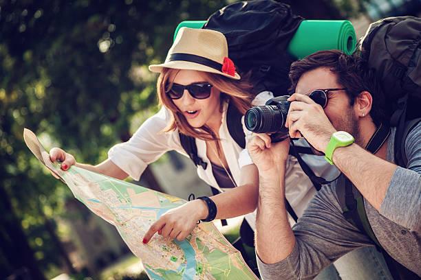 Tourists Sightseeing City stock photo