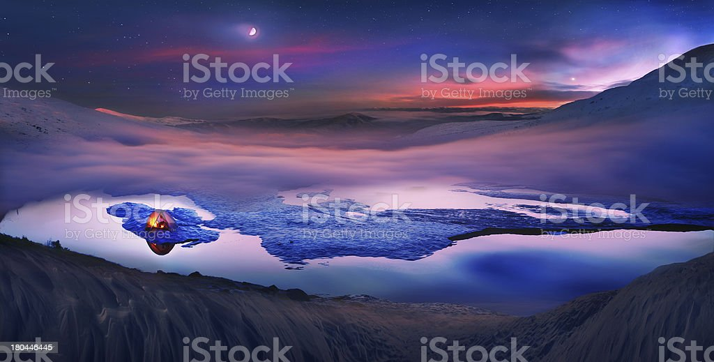 Tourists spend  night on the ice stock photo