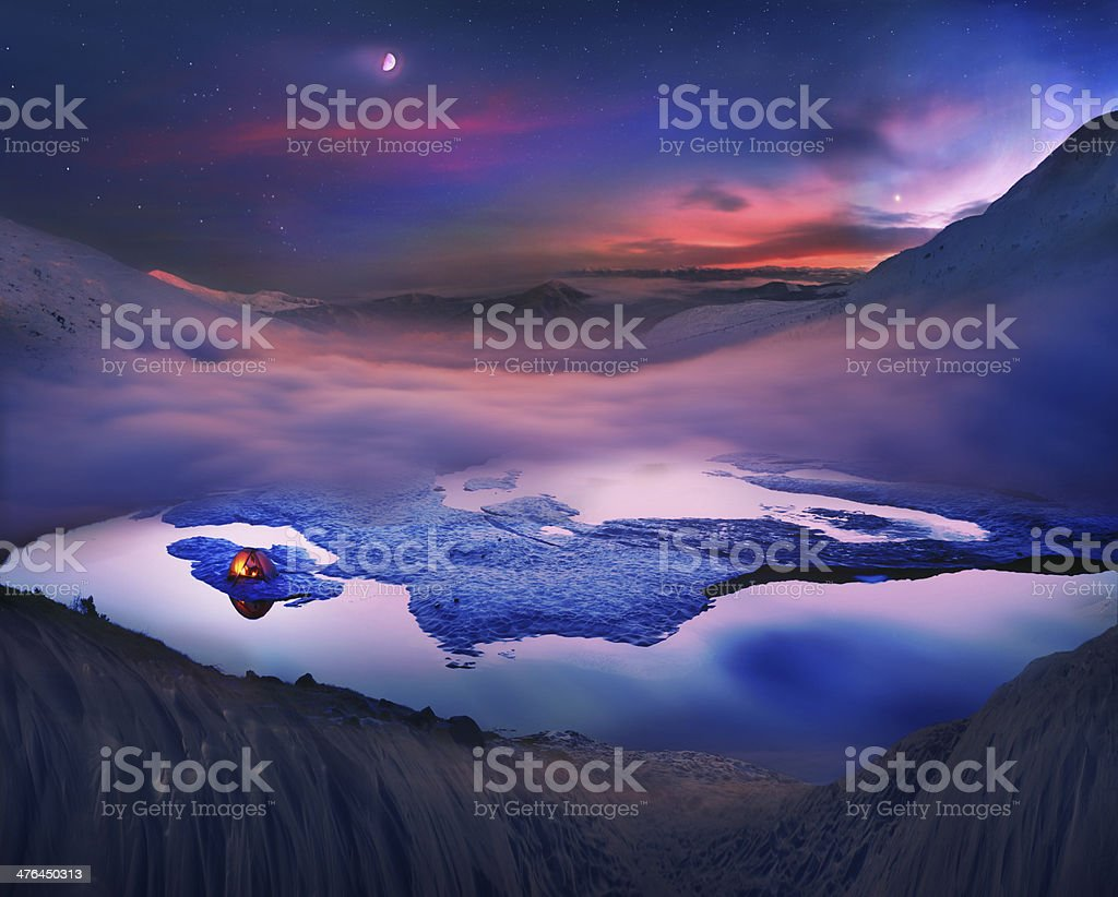 Tourists spend  night on the ice royalty-free stock photo