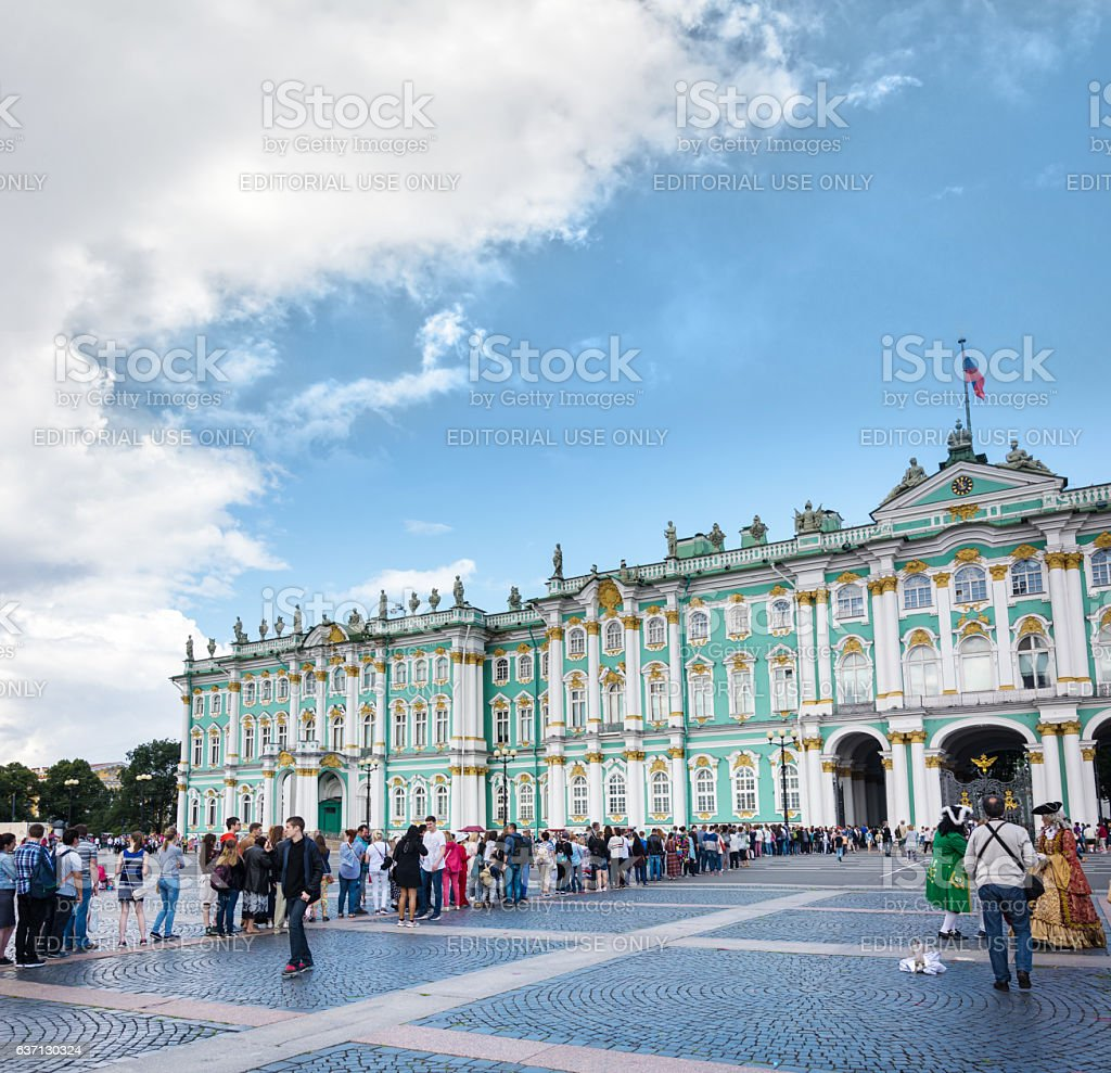 Tourists stand in queue long hours in State Hermitage Museum stock photo