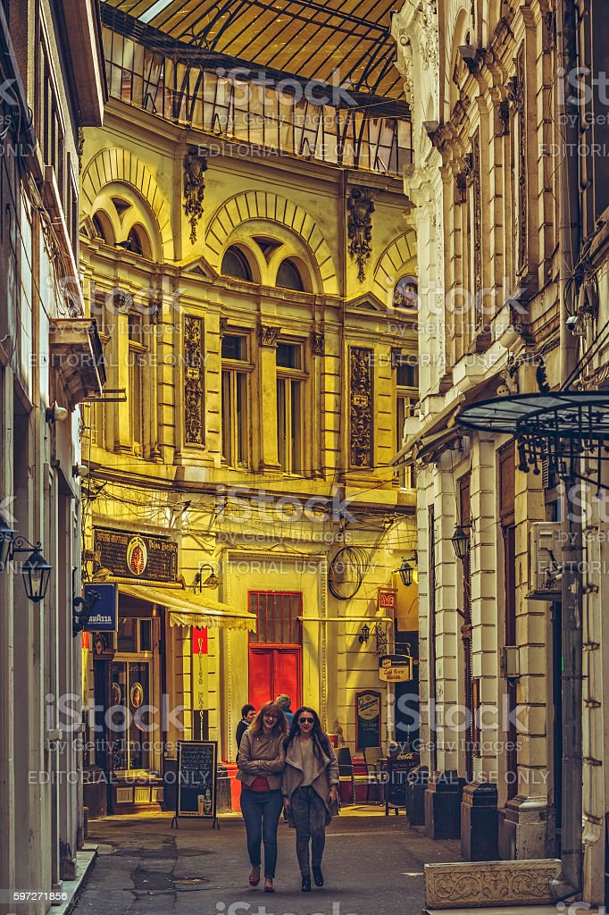 Tourists strolling the streets royalty-free stock photo