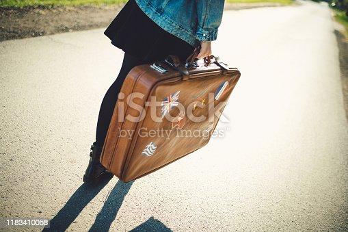 Tourist's brown retro suitcase