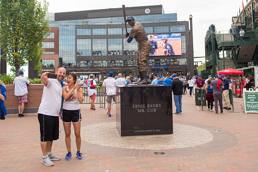 Tourists take a selfie at Wrigley Field