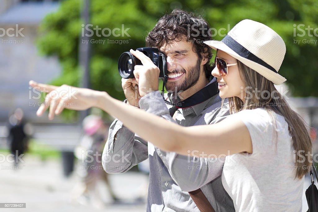 Tourists taking a photo stock photo