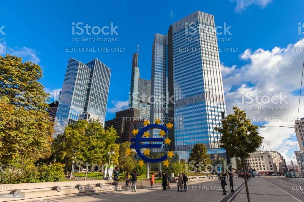 Tourists taking photo in front of ECB Headquarter stock photo