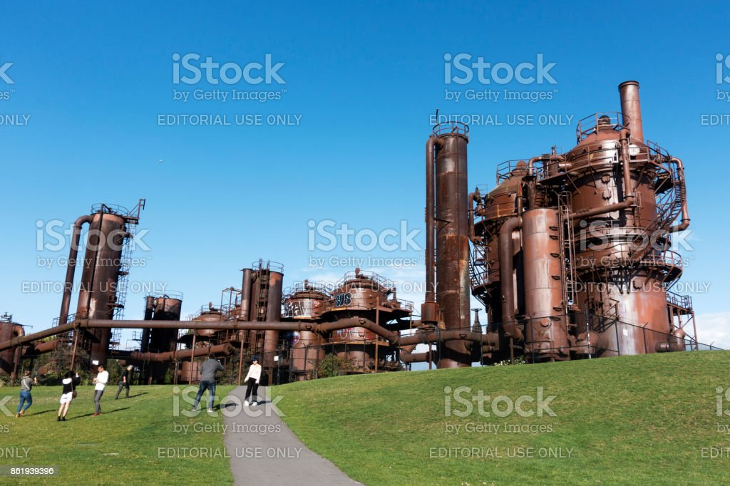 Tourists taking photos in Gas Works Park in Seattle stock photo