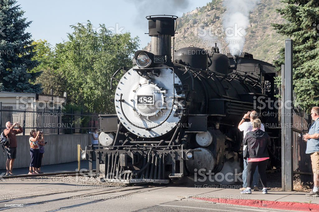 Tourists taking pictures of the Durango Silverton Narrow Gage Train stock photo