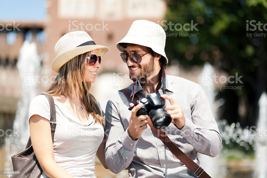 Tourists taking pictures stock photo