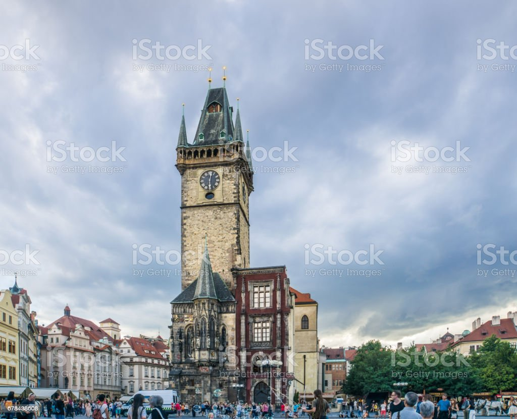 Tourists Throng Old Town Square in Prague stock photo