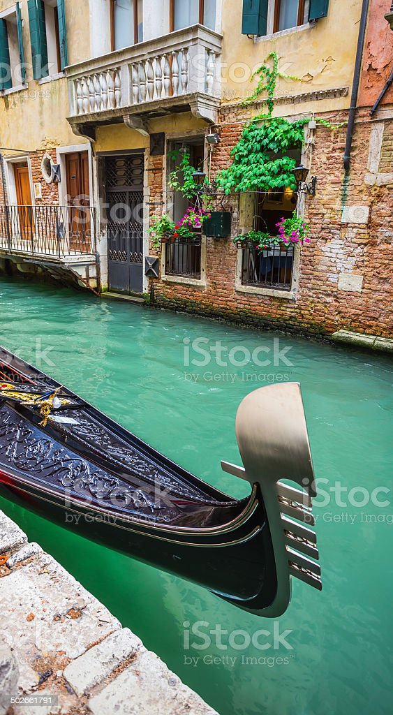 Tourists travel on gondolas at canal royalty-free stock photo