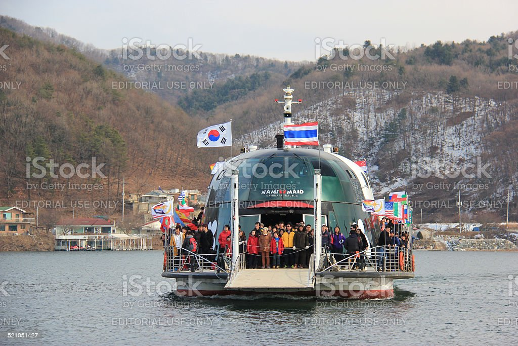 Tourists traveling to Nami Island stock photo