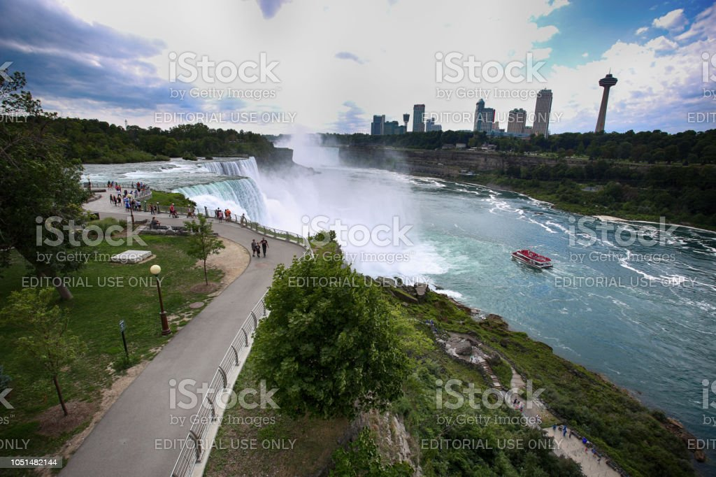 Tourists View The Niagara Falls The Canadian Side With Famous Hotels Across From The American Side New York State Usa Stock Photo Download Image Now