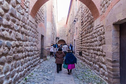 Tourists visit a historic coin mint Casa Nacional de Moneda in Potosi, Bolivia