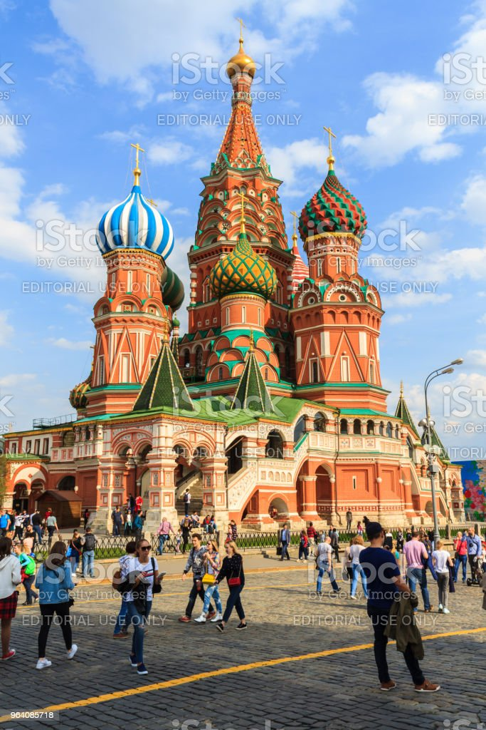 Tourists visit Saint Basil's Cathedral in Red Square at Moscow, Russia. - Royalty-free Architecture Stock Photo