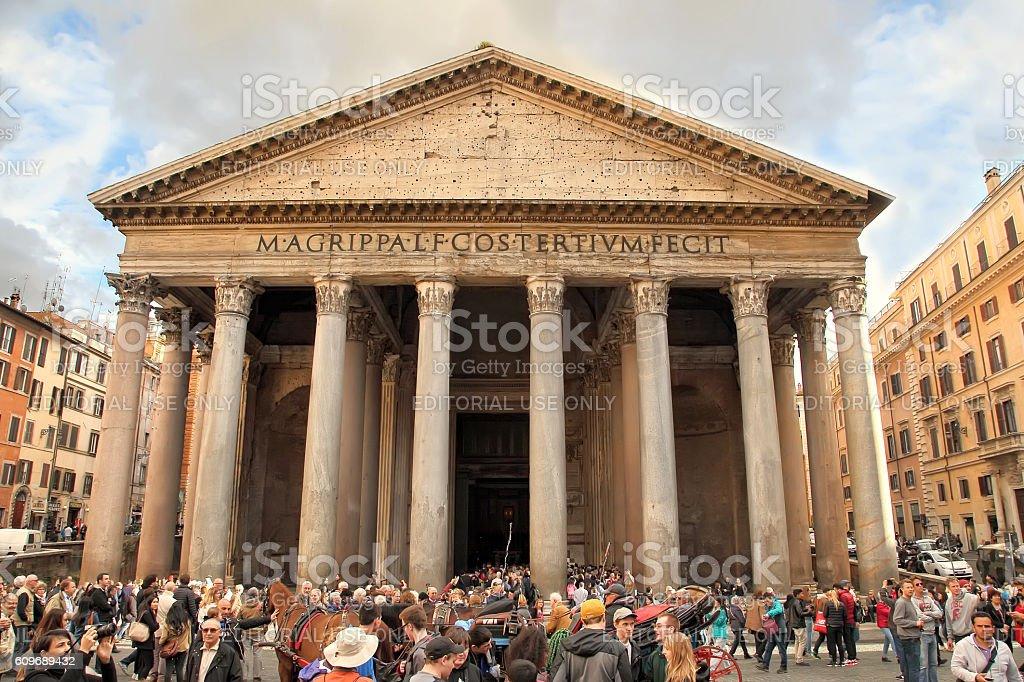 Tourists visit the Pantheon, Rome, Italy stock photo