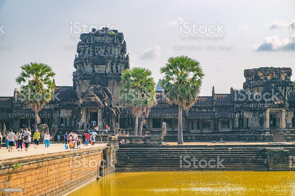 Tourists visit to Angkor Wat, Cambodia stock photo
