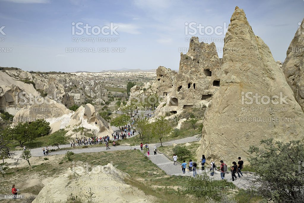Tourists visiting ancient monasteries complex stock photo