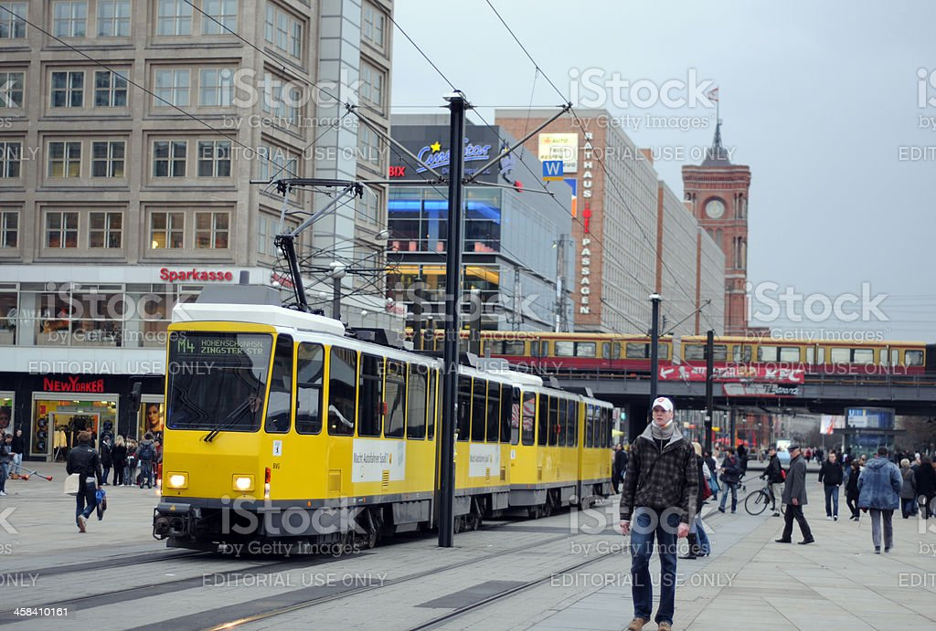 Tourists visiting at alexanderplatz in Berlin (Germany) stock photo