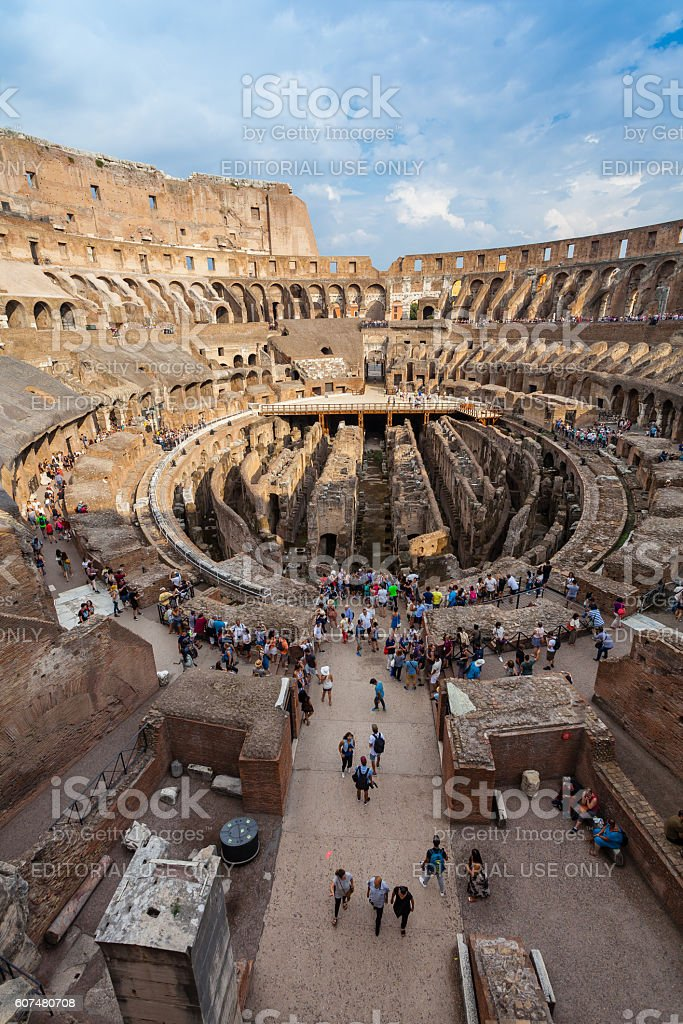 Tourists visiting  famous sightseeing in the world - Colosseum stock photo