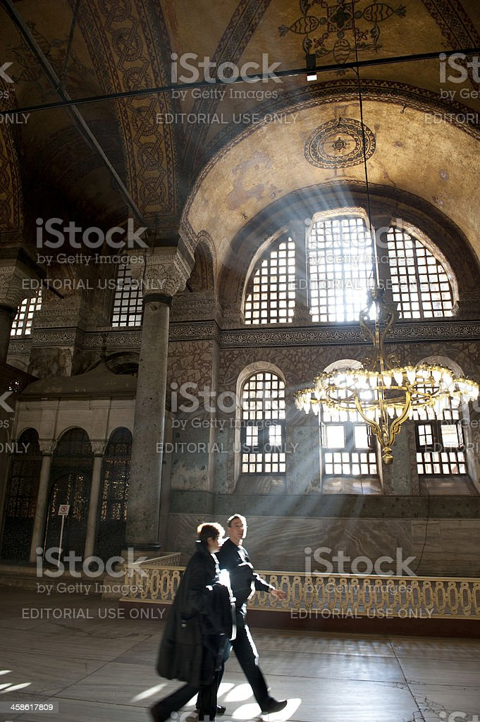 Tourists visiting hagia sofia stock photo