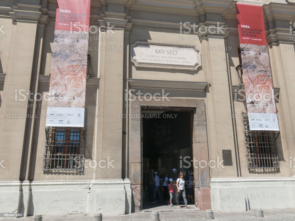 Tourists visiting Museo Chileno de Arte Precolombino (in English: Chilean Museum of Pre-Columbian Art), an museum dedicated to the art pre-Columbian from Central and South America. stock photo