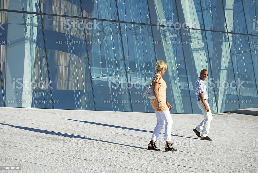 tourists visiting Oslo opera house, Norway royalty-free stock photo