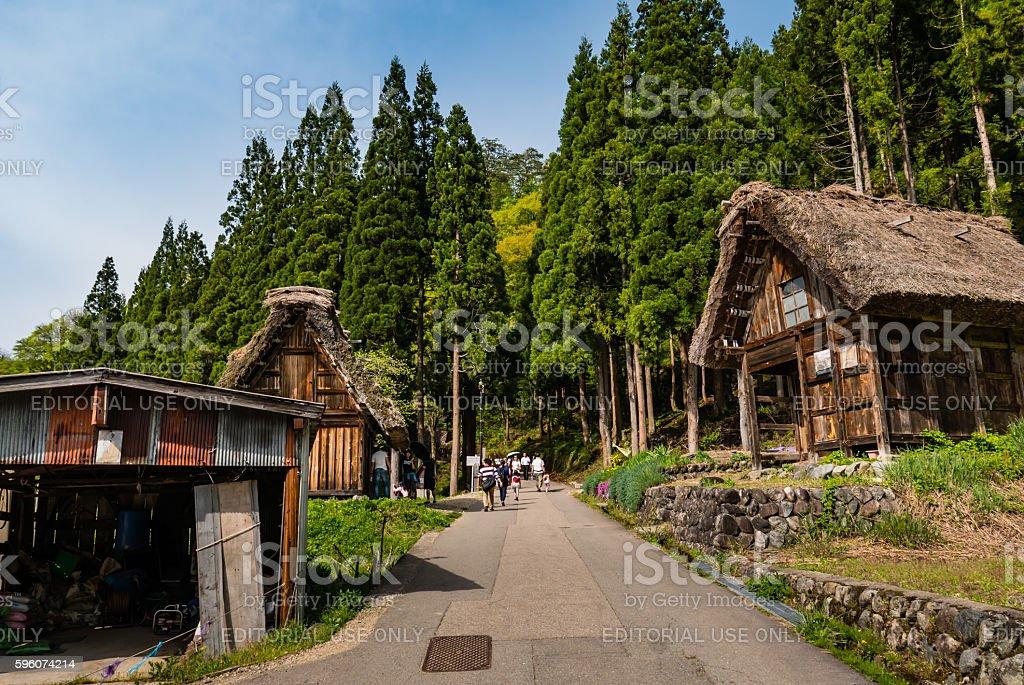 Tourists visiting Shirakawa-go royalty-free stock photo