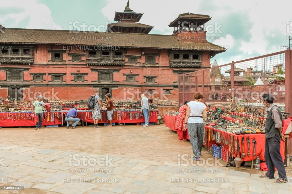 Tourists visiting street bazaar in Durbar Square, Basantapur, Kathmandu, Nepal stock photo