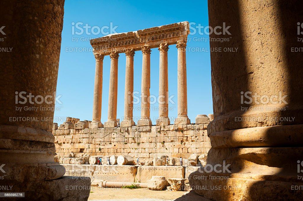 Tourists visiting Temple of Jupiter columns in Baalbek, Lebanon stock photo