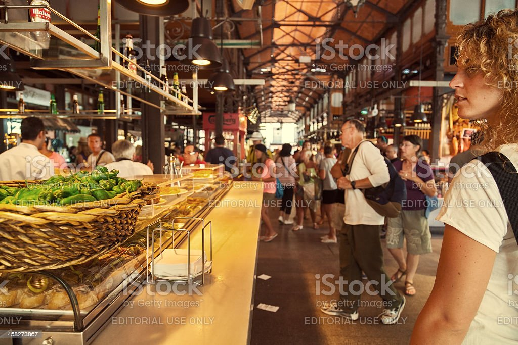 Tourists visiting the famous San Miguel Market, Madrid stock photo