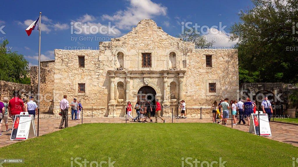 Tourists Visiting The Historic Alamo in San Antonio, Texas stock photo