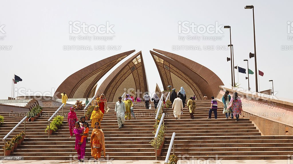 Tourists visiting the Pakistan Monument in Islamabad stock photo