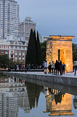 Madrid, Spain; 10/24/2015; Tourists visiting the temple of Debod, with the city of Madrid in the background.