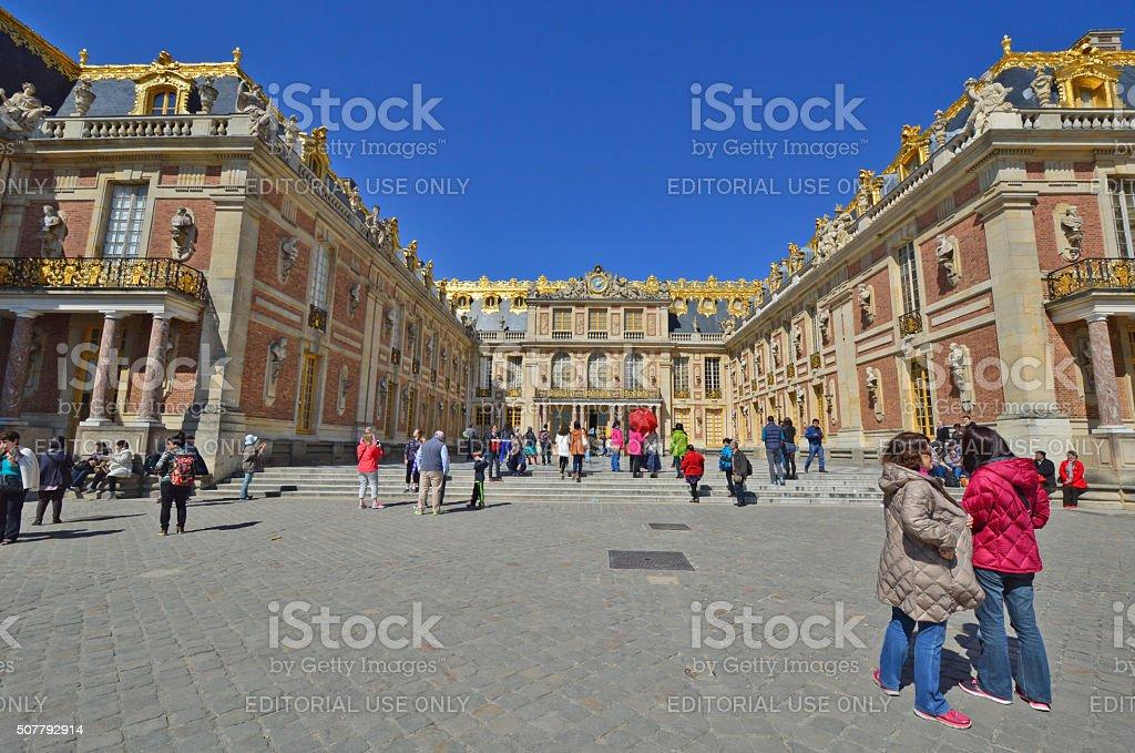Tourists visiting Versailles Palace stock photo