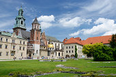 Krakow,Poland - June 16,2013 :tourists visiting Wawel Royal Castle and Cathedral in Krakow, Poland