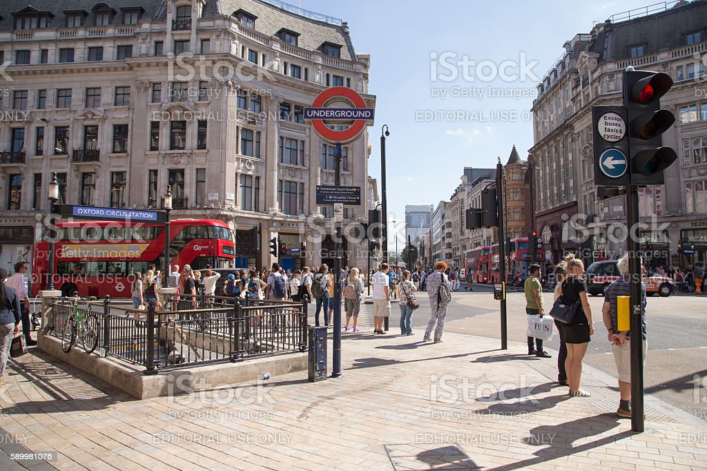 Tourists waiting to cross the road at Oxford Circus stock photo